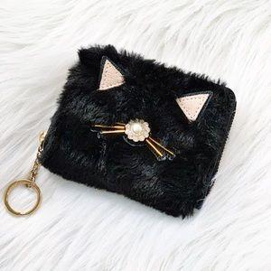 Kate Spade Black Furry Coin Wallet Key Chain